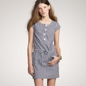 J CREW Olivia Shift Dress 8 Navy Gingham PRISTINE!